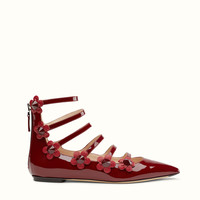 FENDI | BALLERINA in red patent leather with flowers