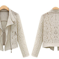 White or Black Long Sleeve Zip Up Lace Jacket
