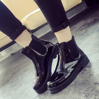New Hot Rain Fashion Women's Flats Shoes Boots Martin Female Ladies Casual Soft Rubber Slip On Superstar Round Toe Ankle HY-K58