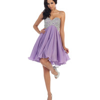 Lilac Purple Strapless Sequin Sweetheart Short Dress 2016 Prom Dresses