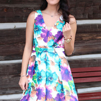Floral Frenzy Fit + Flare Dress {Green+Purple Mix}