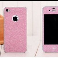 Highsound Flash Shiny Screen Full Body Protector Sticker Cover Film Case for iPhone 4 4S Pink