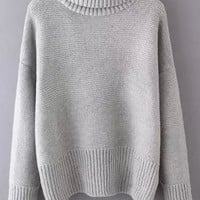 Turtleneck Dropped Shoulder Seam Grey Jumper