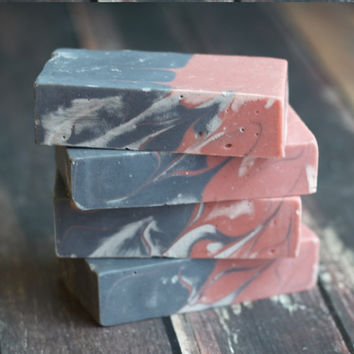 Rose Clay and Activated Charcoal Facial Soap- Facial Bar - Unscented Soap- Clay Soap-  Handmade Soap- Vegan Soap- Charcoal Soap- Facial Soap