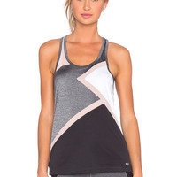 Splits59 Sabrina Matrix Racerback Tank in Heather Grey, Blush, Black & White