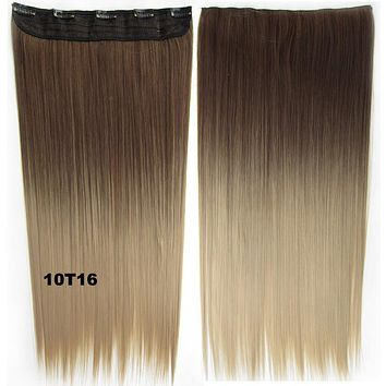 "Dip dye\ hairpieces New Fashion 24"" Women Clip in on gradient wig Bath & Beauty Hair Ombre Hair Extensions Two Tone Straight hair Gradient Hair Extension Colorful Hairpiecjn nnnn777777uuuuuuuuuuuuuu88888+"