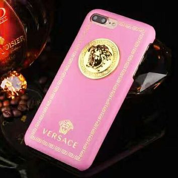 Versace New fashion human head leather couple protective cover phone case Pink