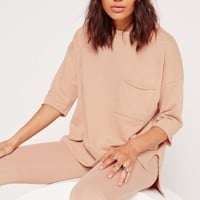 Missguided - Petite Pocket Front T Shirt Sweater Nude