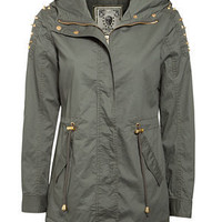 Khaki Studded Shoulder Parka Jacket