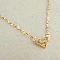 gold superman necklace