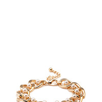 FOREVER 21 Faux Pearl Chain Bracelet Gold/Cream One