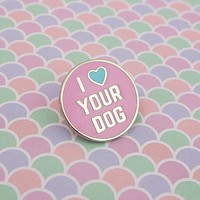 I Love Your Dog - Enamel Pin in Silver and Pink