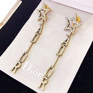 Dior Fashion new diamond star letter long earring women accessories Golden