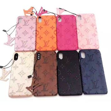 LV fashion hot selling solid color embossed hanging ornaments for women casual Iphone case