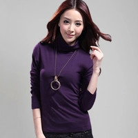 Autumn Winter Womens Sweater 2016 New Turtleneck Long-Sleeve Solid Sweater Tops Pullover Sweater blusa feminina
