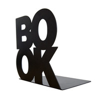 Modern stylish bookend BookOne Black powder coated laser cut metal thick enough to hold books