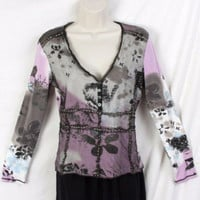 Marc Aurel S 34 size Black Pink Floral Top Nylon Net Fitted Stretch Top Italy