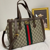 GUCCI Women Leather Satchel Crossbody Handbag Shoulder Bag