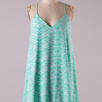 Aztec Racer Back Dress - Mint