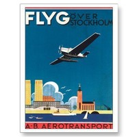 Stockholm Sweden Airplane Poster Art Post Cards from Zazzle.com