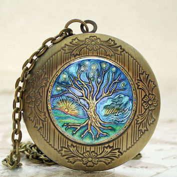 Jewelry - Necklace - Locket - Antique Bronze Photo Art Locket - Tree of Life Locket with Necklace and Matching Gift Tin