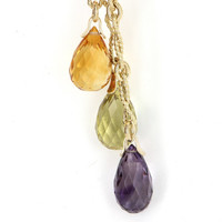 Vintage 14 Karat Yellow Gold Citrine Peridot Amethyst Drop Cocktail Necklace Estate Jewelry