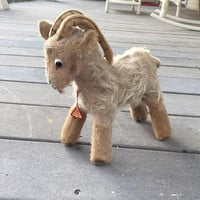 Clements Spieltiere Stuffed Ram, Billy goat, Mohair, Vintage Toy Animal