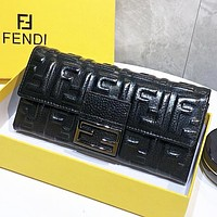 Fendi Fashion new more letter leather wallet purse handbag Black