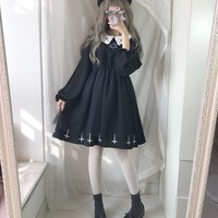 Harajuku Street Fashion Cross Cosplay Female Dress Japanese Soft Sister Gothic Style Star Tulle Dress Lolita Cute Girl Dresses