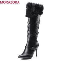 MORAZORA 2018 new arrival boots women pointed toe punk fashion shoes woman zipper with buckle knee high boots high heels boots