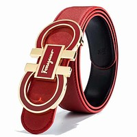 Samplefine2 Ferragamo Fashion New Buckle Leather Women Men Leisure Belt Red