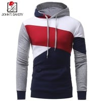 Johns 2018 New Fashion Hoodies Brand Men Multi-Color Stitching Sweatshirt Male Hoody Hip Hop Autumn Winter Hoodie Mens Pullover