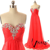 Sweetheart Strapless A Line Long Chiffon Wedding Party Dress Red Crystal Prom Dresse Formal Evening Dresses 2014 Bridesmaid Dress