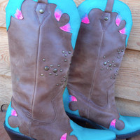 Hand Painted Brown Cowboy Boots - Women's Western - Turquoise Hot Pink Light Pink and Pink Glitter