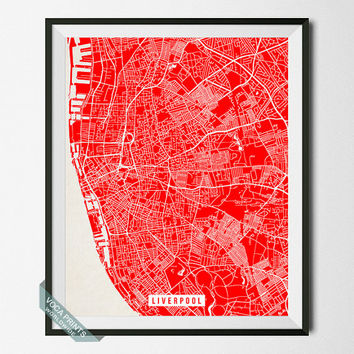 Liverpool Print, England Poster, Liverpool Street Map, England Print, Liverpool Poster, Room Decor, Modern Print, Wall Art, Back To School