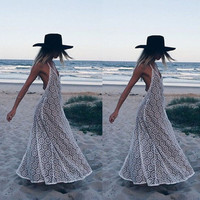 White Halter Backless Lace Bikini Cover-up Maxi Dress