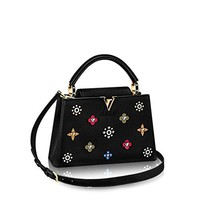 Fashion classic rivet CAPUCINES trumpet handbag shoulder Messenger bag black