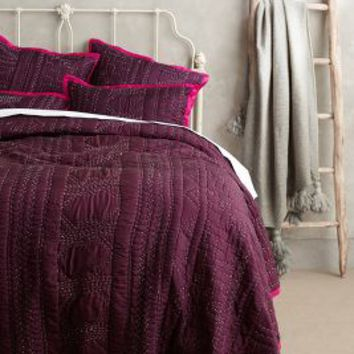 Stitched Kantha Coverlet by Anthropologie Plum