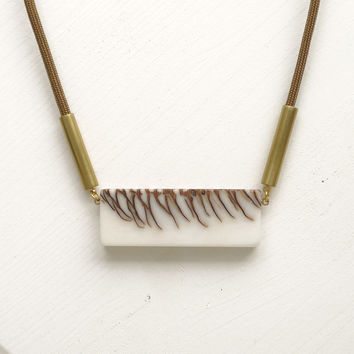 Double sided long necklace, brown cord SPECIAL