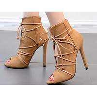 WOMENS SUEDE TIE-UP PEEP TOE BOOTIE