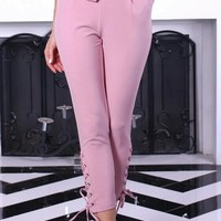 Lace up bow pencil pants