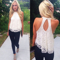 Sexy Women Summer Casual Sleeveless Shirt Lace Loose Vest Top Blouse S/M/L/XL = 5738012993