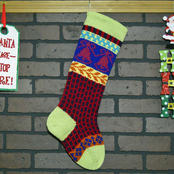 Hand Knit Christmas Stocking with Pale Green Cuff, Pink Bells and Purple Bricks, Can be Personalized, Housewarming Gift, Wedding Gift