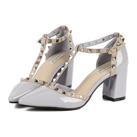 Roman Rivet Pointed High Thick Heel Sandals Women Shoes  grey