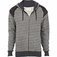 Grey quilted patch hoodie