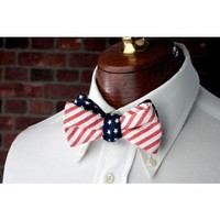 Stars & Stripes Reversible Bow Tie in Red, White and Blue by High Cotton