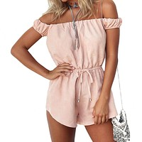 Hot Sale 2016 Summer Style Rompers Womens Jumpsuit Sexy off the Shoulder Playsuits Ladies Casual Solid Overalls Plus Size D1