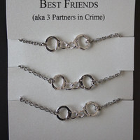 3 Partners in crime matching Best Friends Bracelets - Silver Handcuffs Bracelet, handcuffs charm bracelet, bracelet handchain BFF jewelry