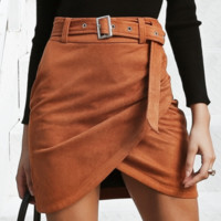 New suede body irregular half-length skirt women's clothing