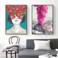 Volcano eruption Posters Cuadros Nordic Flower Woman Portrait Poster And Prints Canvas Painting Wall Art Pictures For Living